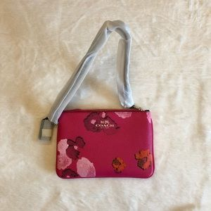 Coach Floral Print Canvas Wristlet in Pink Ruby